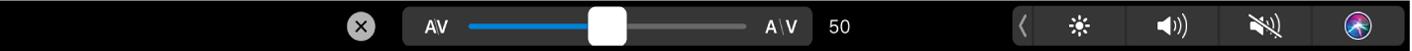 Options de crénage de texte dans la TouchBar
