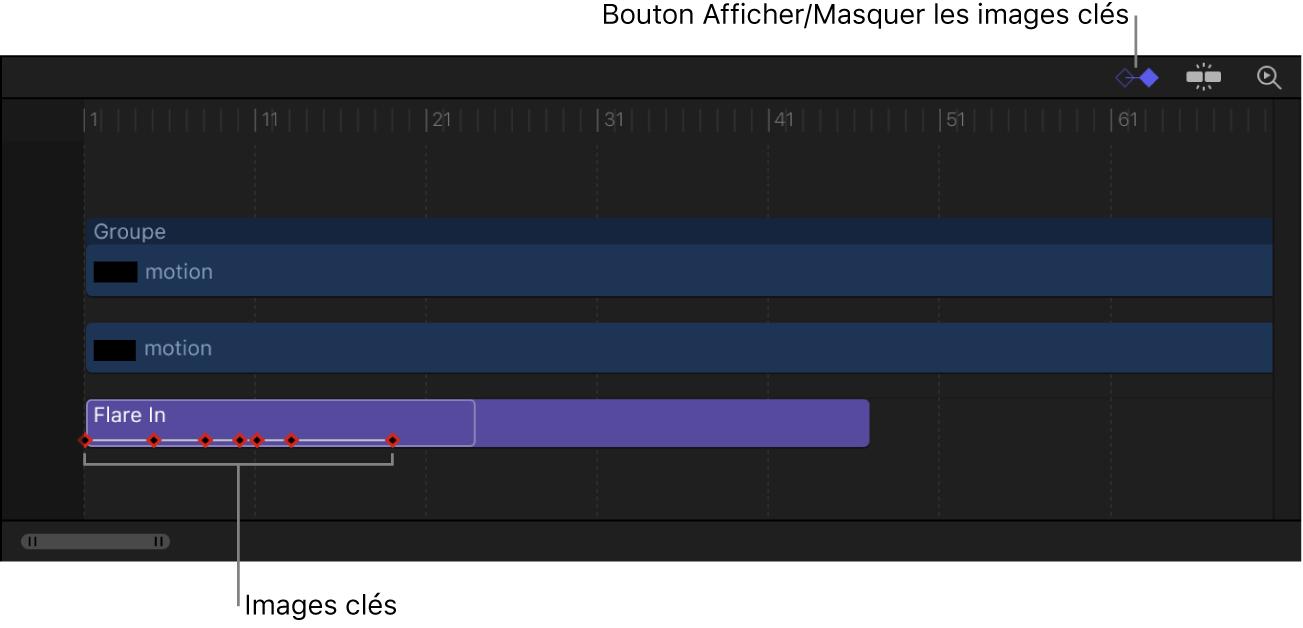Timeline affichant le bouton «Afficher/Masquer les images clés», dont les images clés sont visibles dans un comportement Séquence de texte
