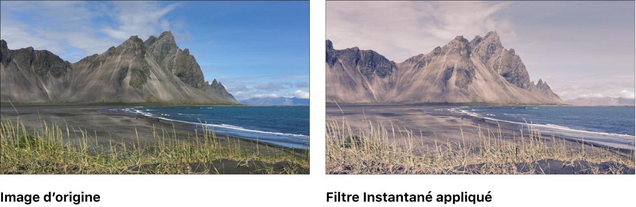 Canevas affichant l'effet du filtre Instantané