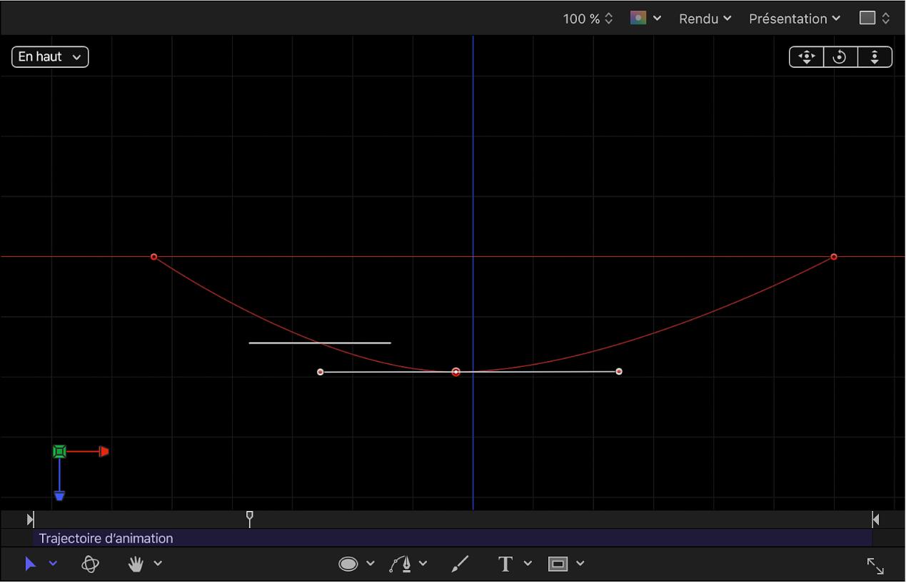Canevas affichant une trajectoire d'animation manipulée dans un espace3D