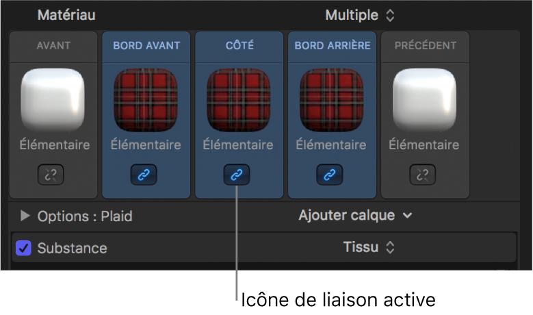 Inspecteur de texte3D affichant plusieurs matériaux sélectionnés et l'icône représentant deux maillons de chaîne liés