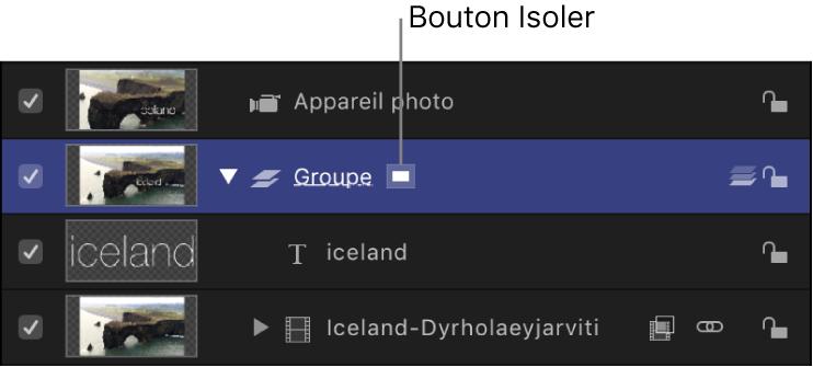 Liste Calques affichant le bouton Isoler (inactif)