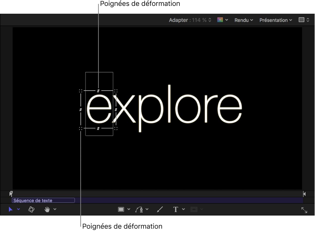 Canevas affichant des commandes à l'écran pour le comportement Séquence de texte