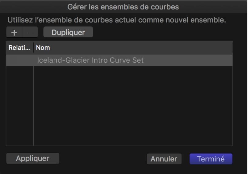 Zone de dialogue «Gérer les ensembles de courbes»