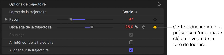 Inspecteur de texte affichant une icône d'image clé dans le menu Animation du paramètre «Décalage de la trajectoire»