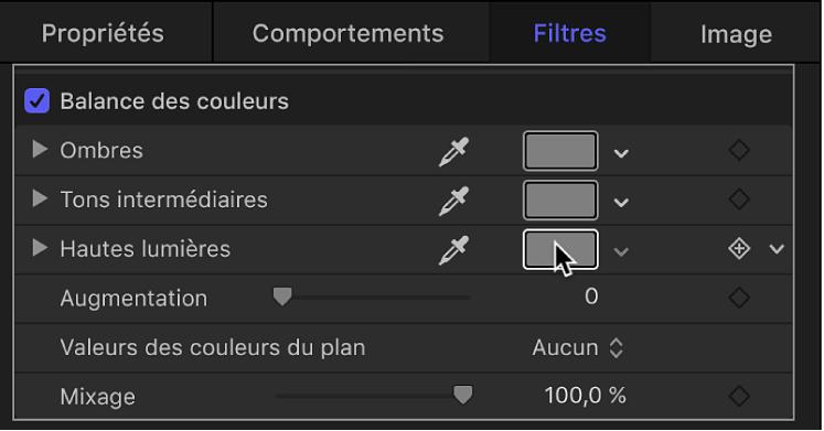 Paramètres du filtre Balance des couleurs