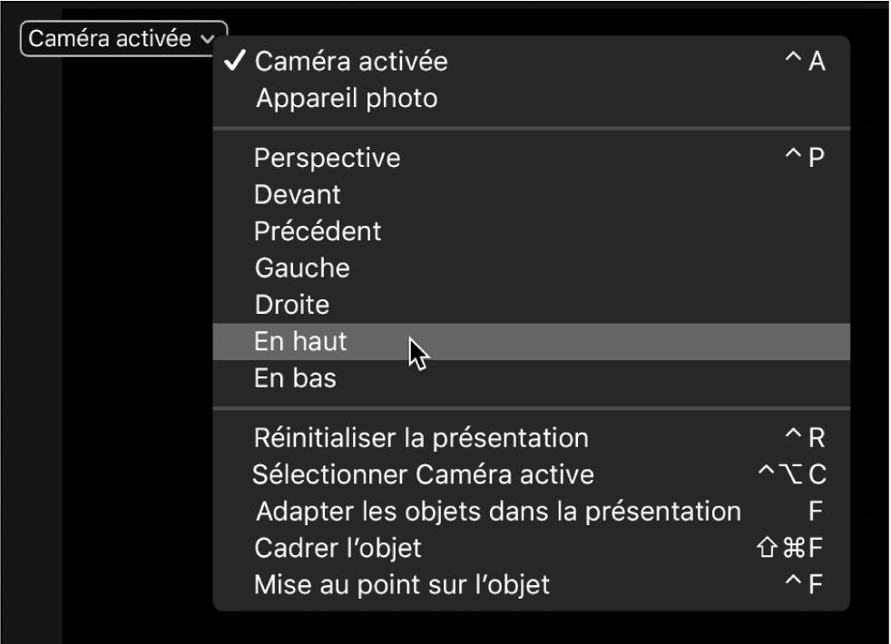 Canevas affichant le menu Caméra