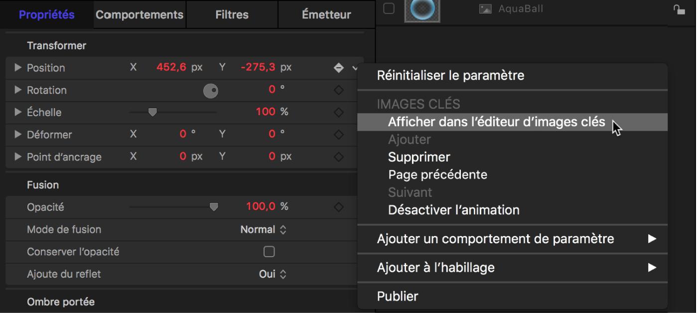 Inspecteur affichant la commande «Afficher dans l'éditeur d'images clés» dans le menu Animation