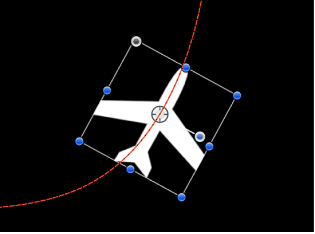 Canevas affichant un objet auquel une trajectoire d'animation circulaire est appliquée