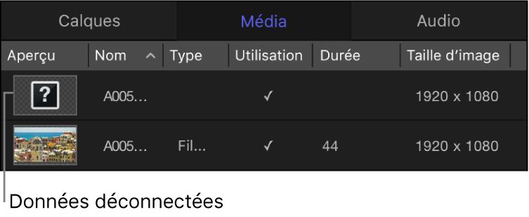 Liste Média affichant des données multimédias déconnectées