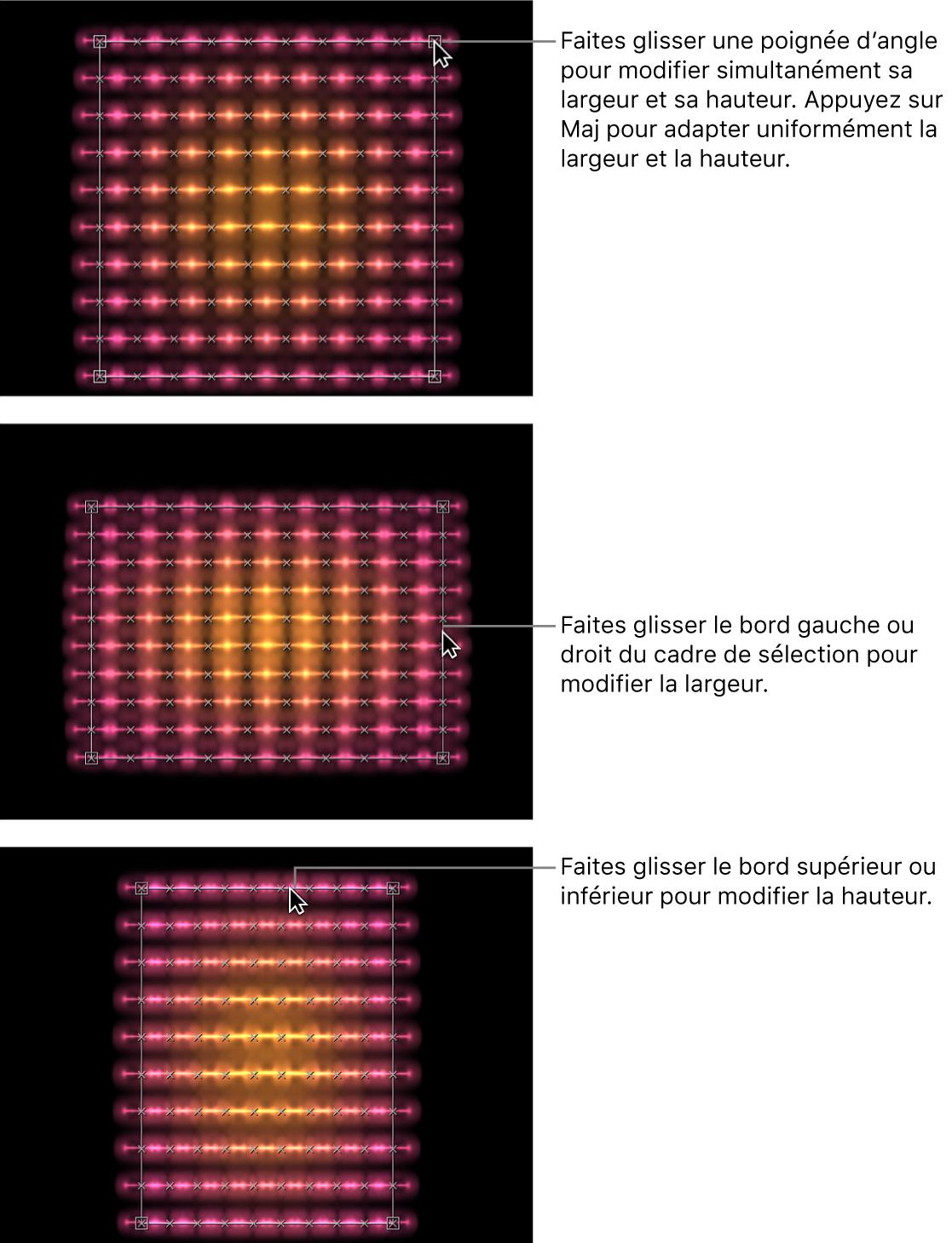 Canevas affichant des réplicateurs modifiés à l'aide des commandes à l'écran