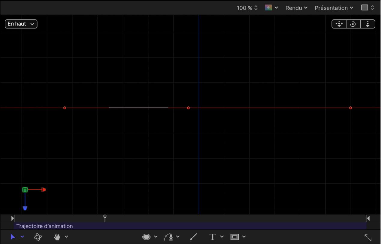 Canevas affichant une trajectoire d'animation2D visualisée dans un projet3D
