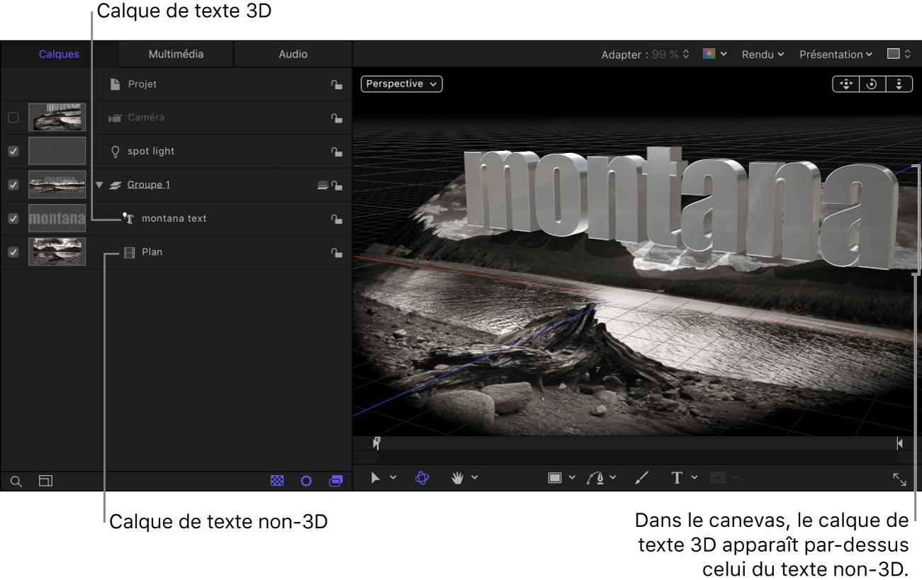 Calque de texte3D situé au-dessus du calque de texte non-3D dans la liste Calques; ce dernier apparaît derrière le calque de texte3D dans le canevas.