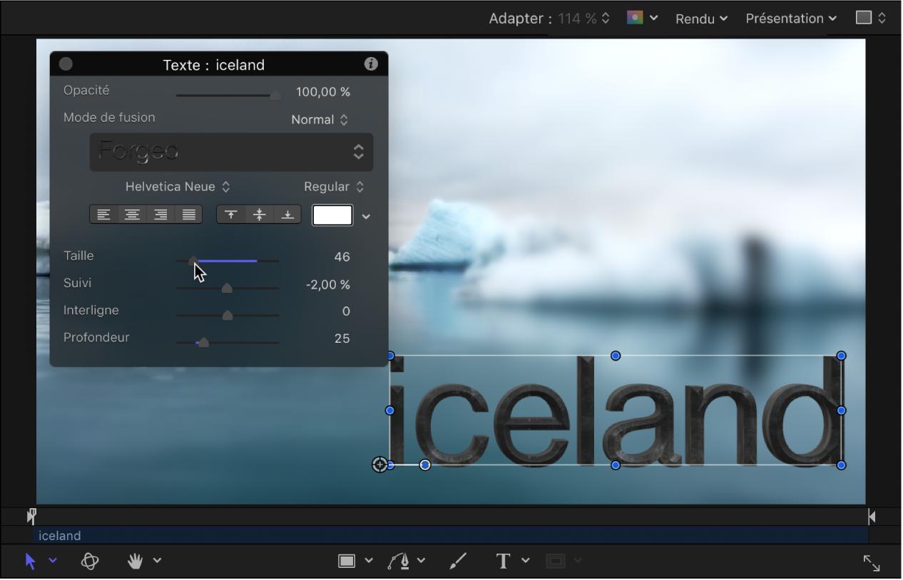 Ajustement dans la palette pour modifier la taille du texte3D.