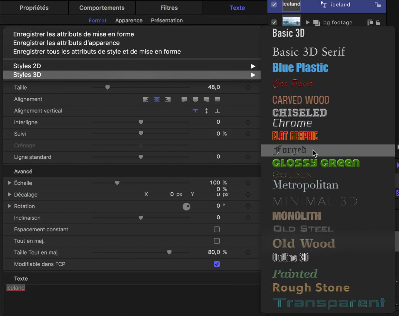 Inspecteur affichant le menu local des styles de texte3D