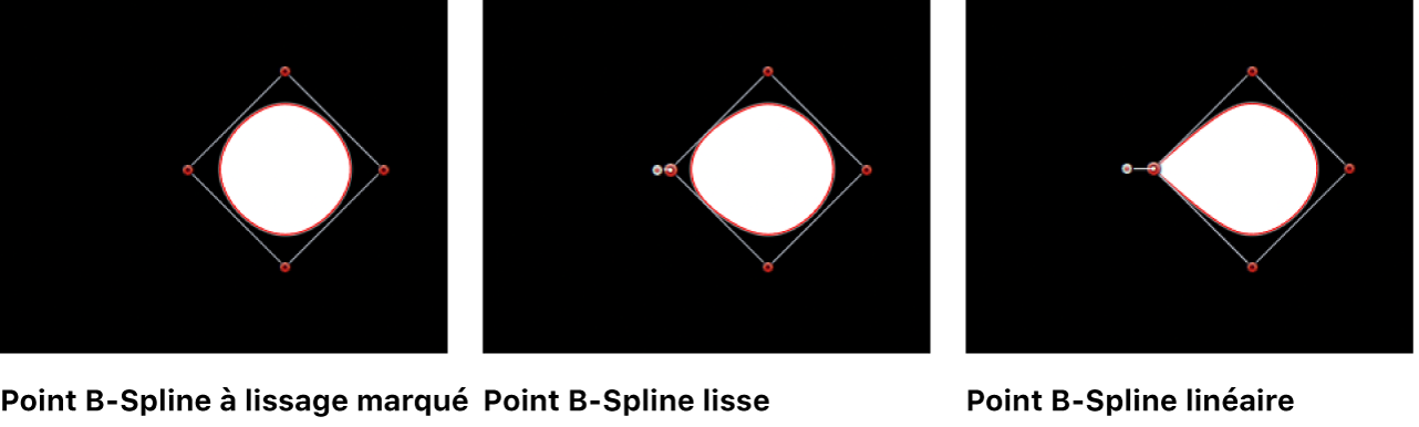 Canevas affichant des points B-Spline réglés sur Lissage fort, Lissage et Linéaire