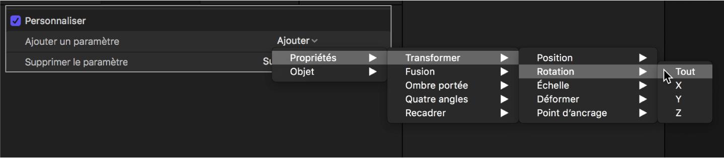 Inspecteur de comportements affichant un paramètre ajouté au comportement Personnaliser depuis le sous-menu Propriétés> Transformer> Position