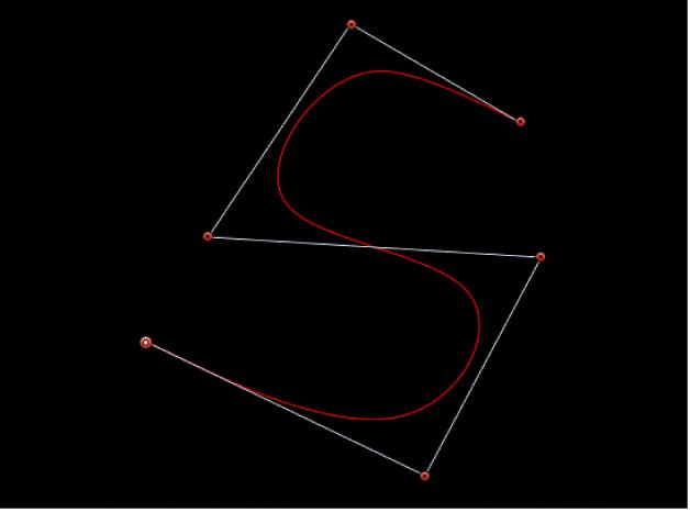 Canevas affichant une courbe en s créée à l'aide de poignées de B-Spline