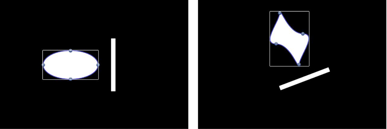 Canevas affichant deux objets en rotation tout en conservant leur emplacement relatif d'origine