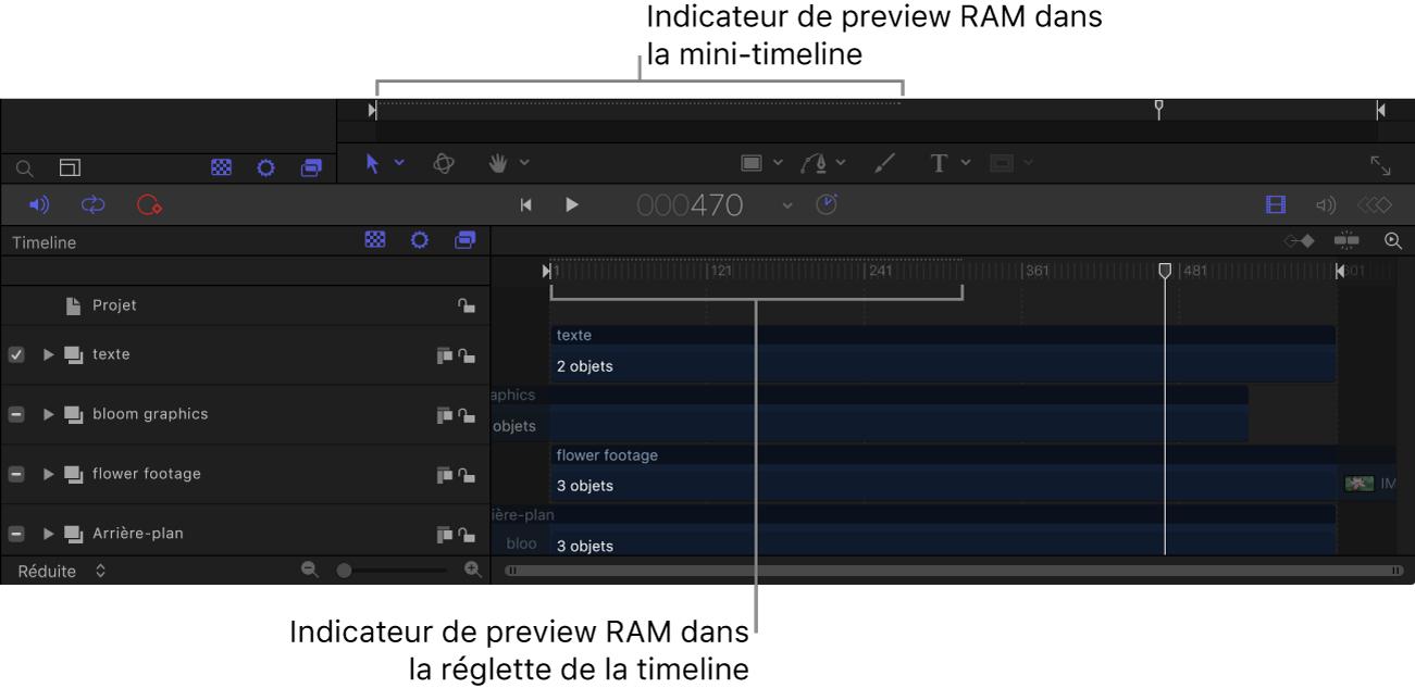Mini-timeline et timeline montrant les indicateurs de preview RAM