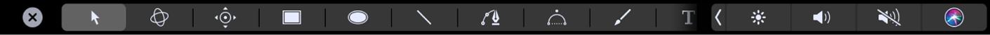 Options d'outils de la Touch Bar