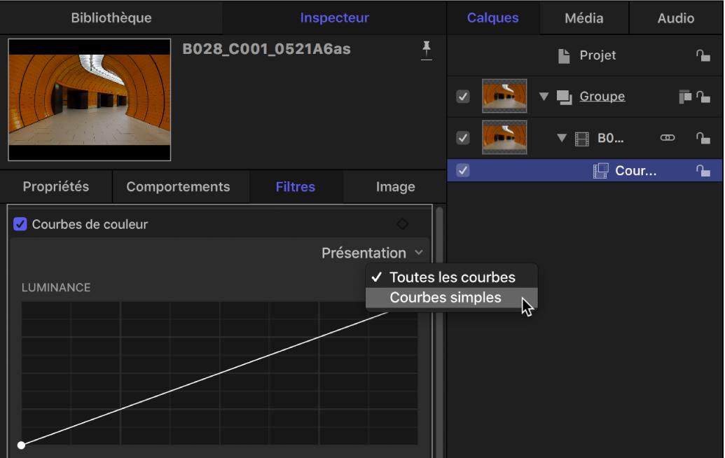 Options d'affichage dans le menu local Affichage des courbes de couleur dans l'inspecteur de filtres