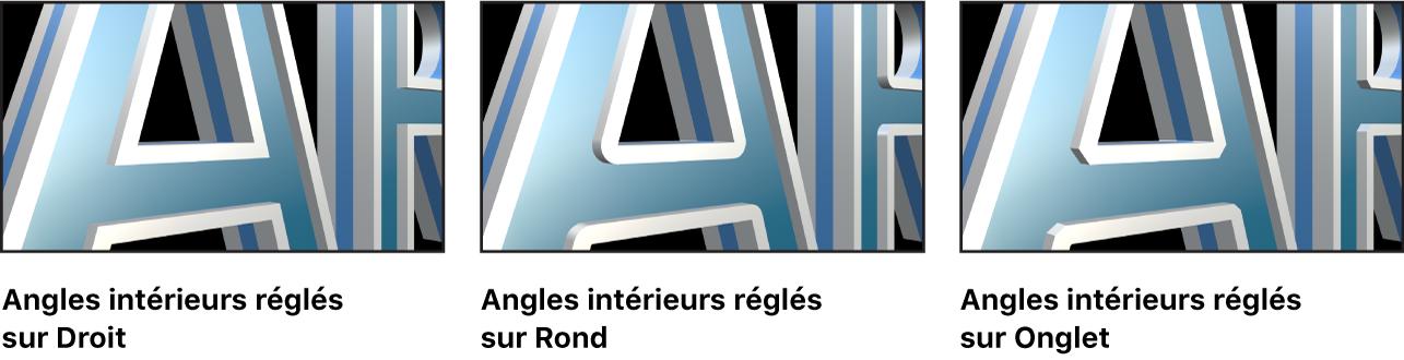 Texte3D dans le canevas avec les Coins intérieurs réglés sur Droit, Rond et Angle
