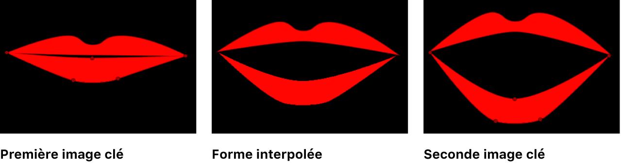 Canevas affichant une forme interpolée entre deux images clés