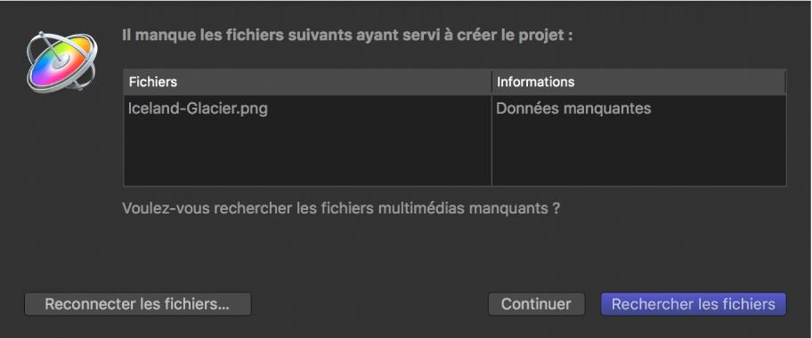 Zone de dialogue affichant une liste de fichiers desquels des données sont manquantes