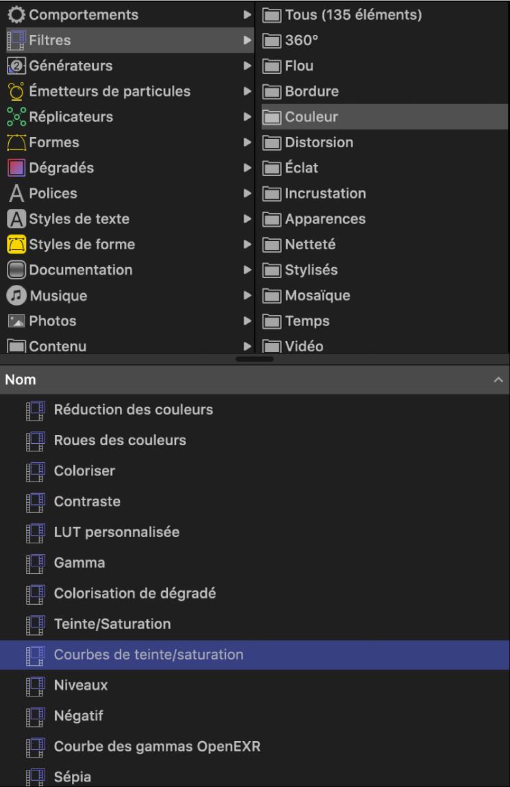Bibliothèque affichant la catégorie des filtres de couleur sélectionnée