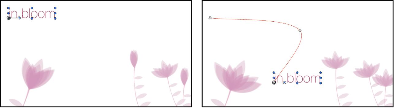 Canevas affichant un objet sélectionné et sa trajectoire d'animation