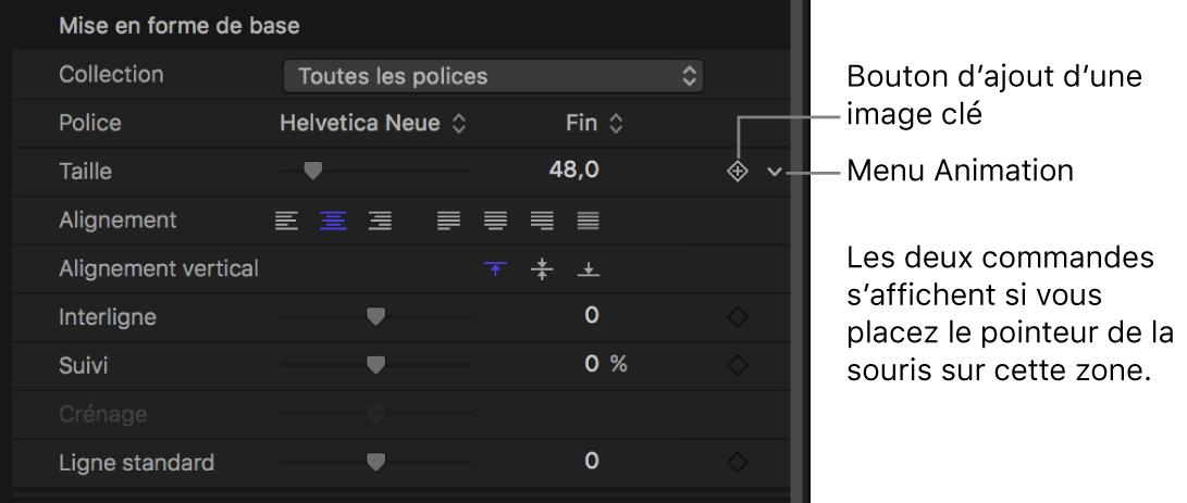 Icône du menu Animation dans l'inspecteur, pour le paramètre Taille du texte