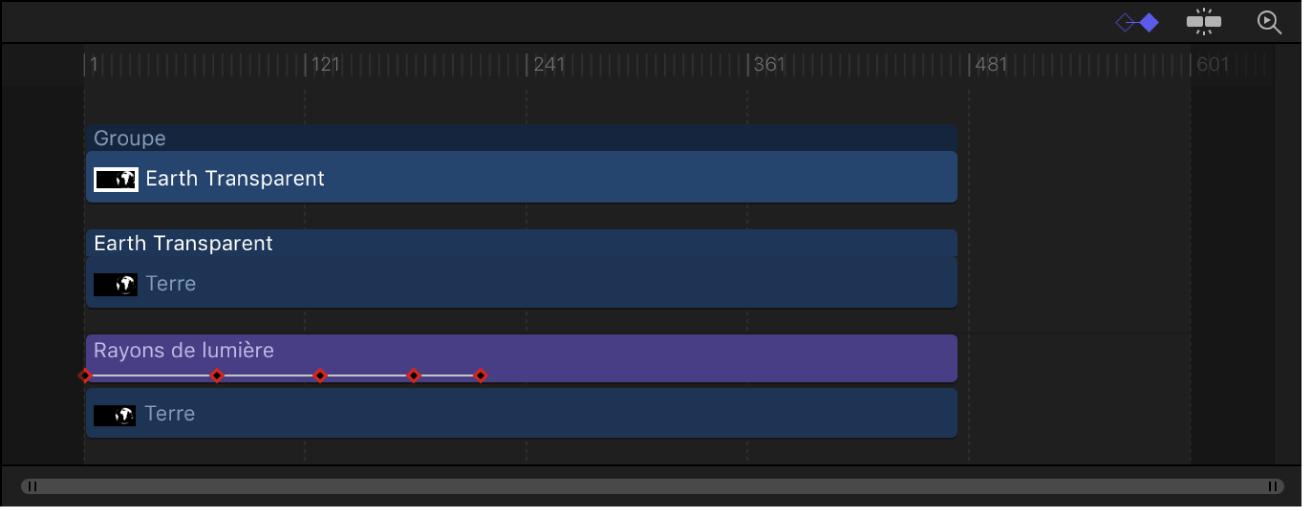 Timeline affichant des images clés sur un calque