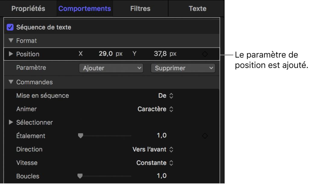 Inspecteur affichant la commande Position ajoutée aux paramètres Séquence de texte