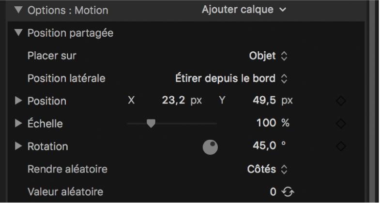 Inspecteur de texte3D affichant les options Position partagée