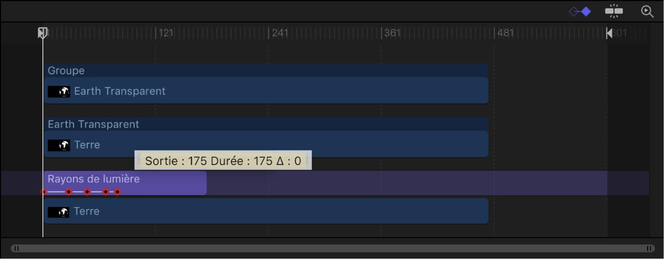 Timeline qui affiche des images clés restant en place pendant l'élagage du calque