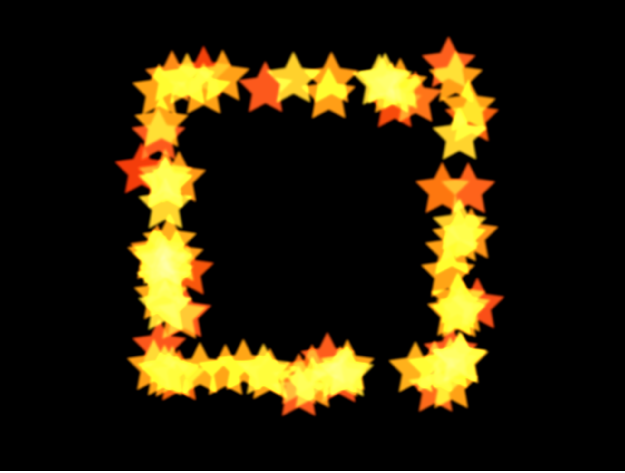 Canevas affichant un système de particules avec la forme définie sur Rectangle