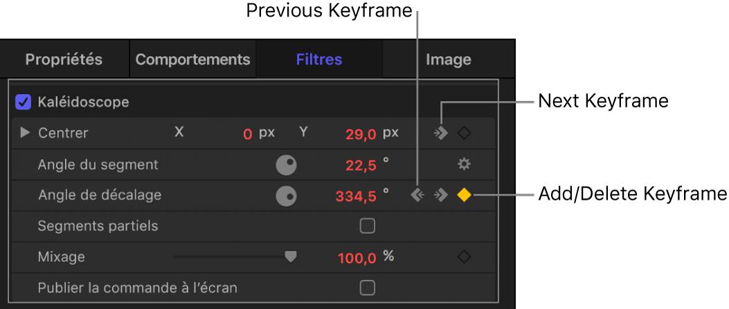 Inspecteur reprenant les commandes «Image clé précédente», «Ajouter une image clé/Supprimer l'image clé» et «Image clé suivante»