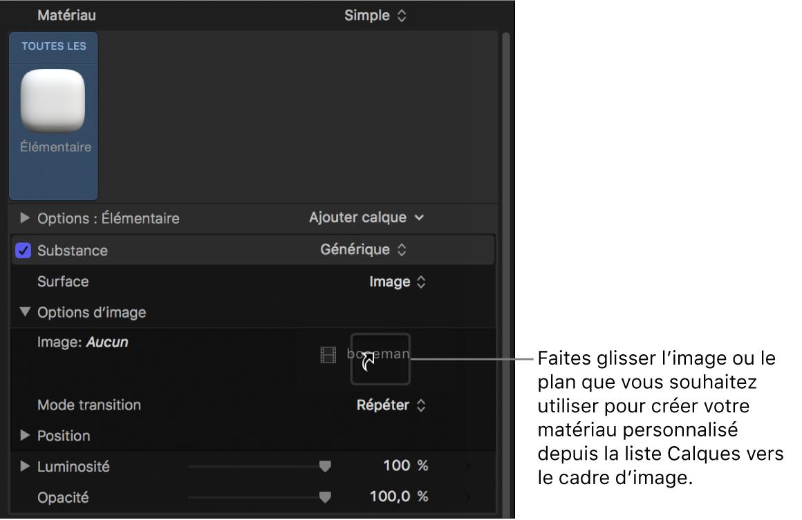 Déplacement par glisser-déposer d'une image personnalisée dans le cadre d'image des commandes Options d'image de la fenêtre Apparence de l'inspecteur de texte