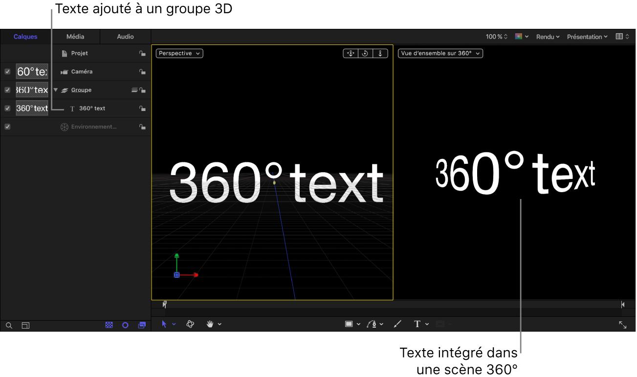 Texte ajouté à un objet Groupe du projet 360°