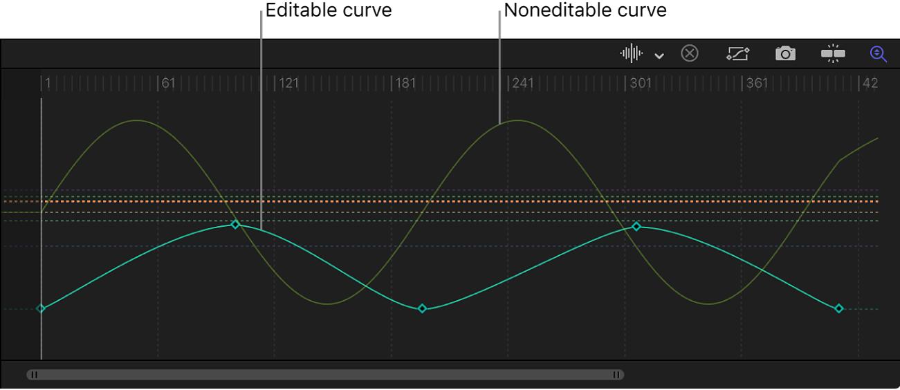 显示可编辑和不可编辑的曲线的关键帧编辑器