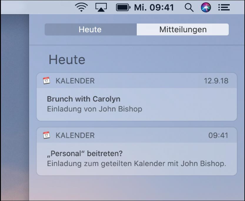 Mitteilung zu einem Kalenderereignis und Mitteilung zu einem geteilten Kalender in der Mitteilungszentrale