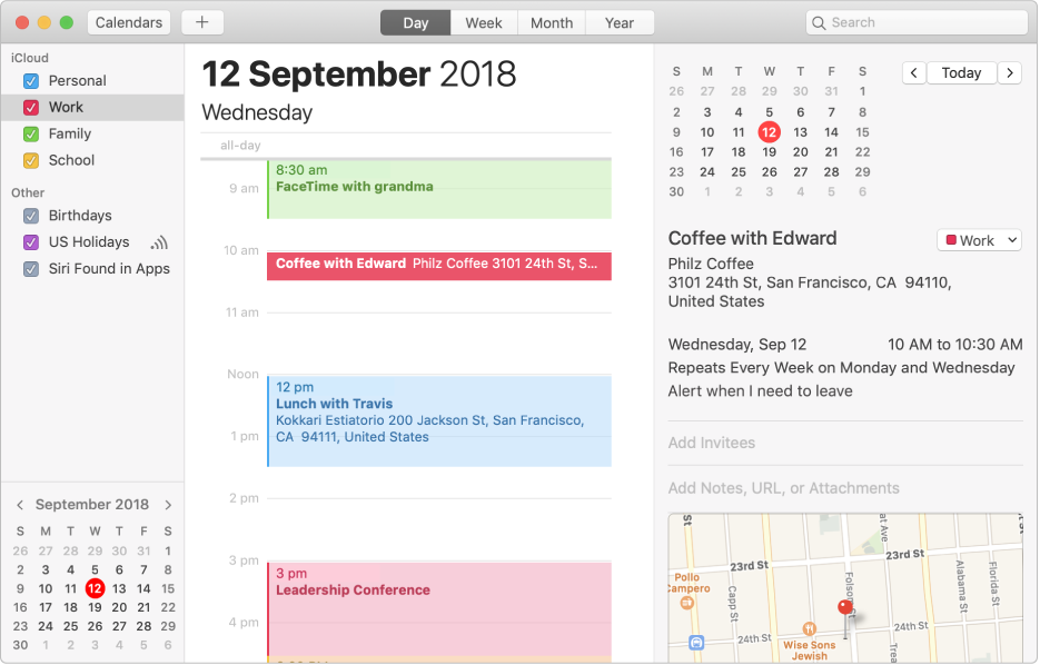A Calendar window in Day view showing colour-coded personal, work and family calendars in the sidebar under the iCloud account heading and another calendar under the Exchange account heading.