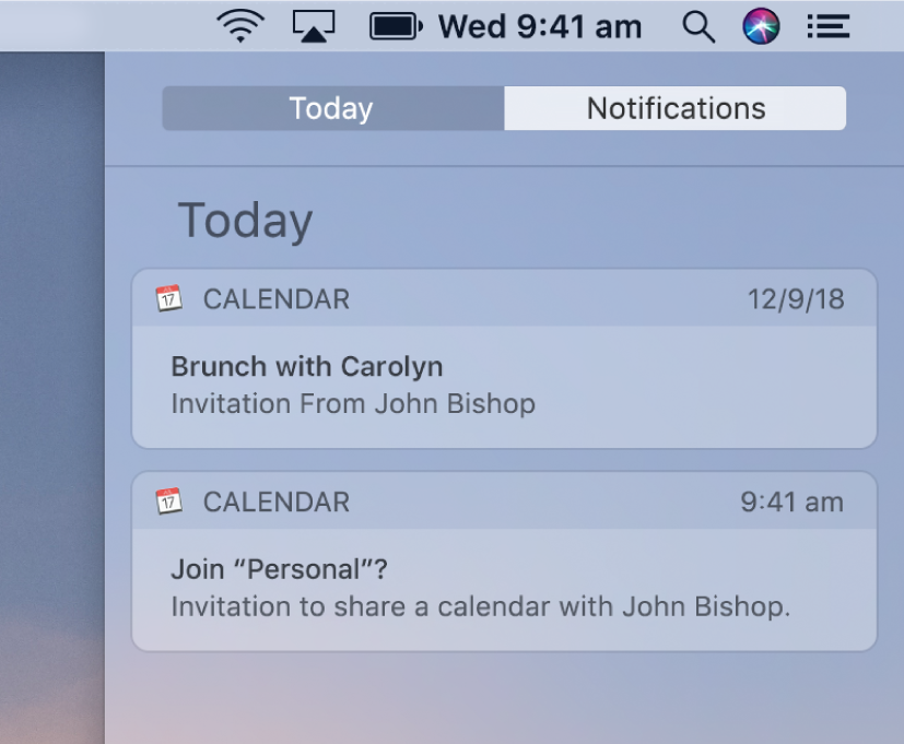 Calendar event notification and shared calendar notification in Notification Centre