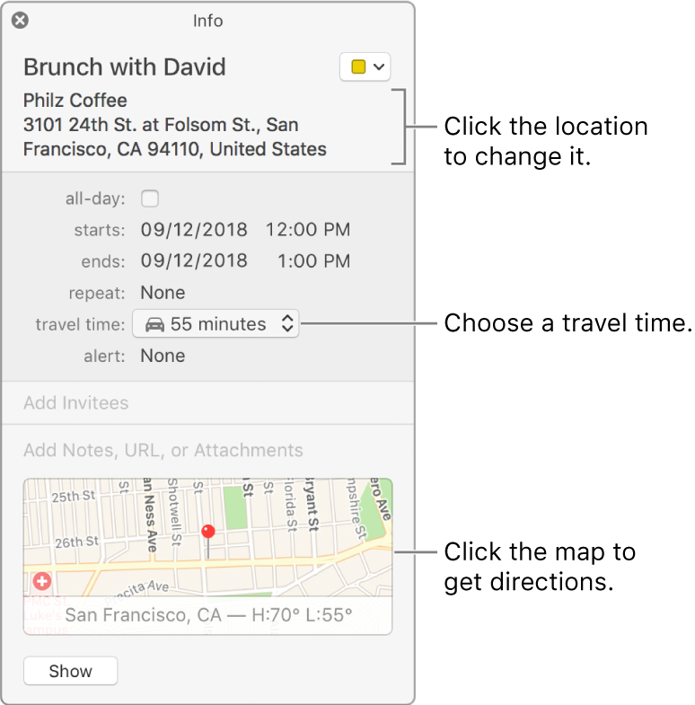 Add location and travel time to events in Calendar on Mac
