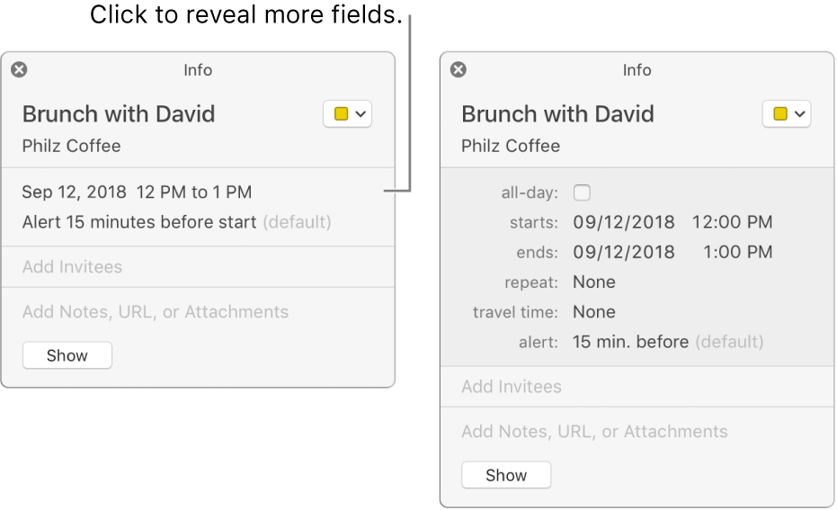 Info window for an event with details hidden (on the left), and the same event's info window with duration details showing (on the right).