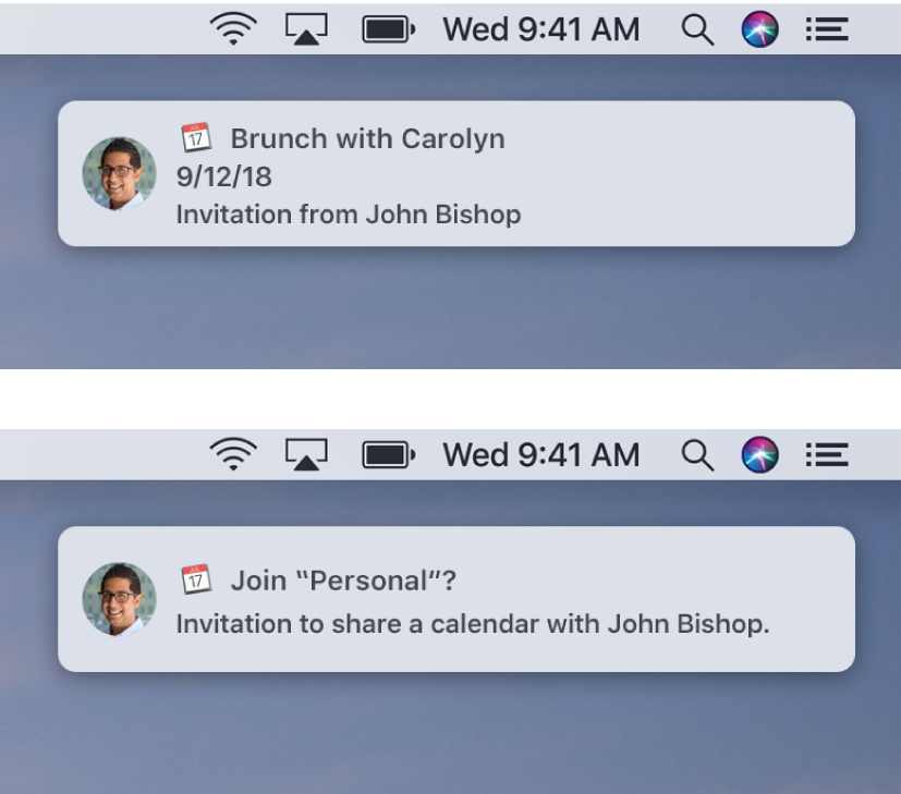 Notification banners for Calendar invitations don't have buttons on the right