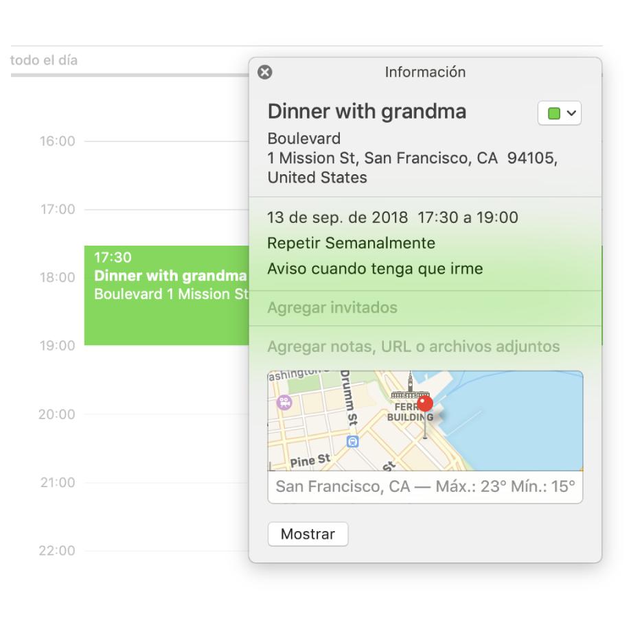 La ventana de información de un evento mostrando el nombre de la ubicación y la dirección, así como un mapa pequeño.