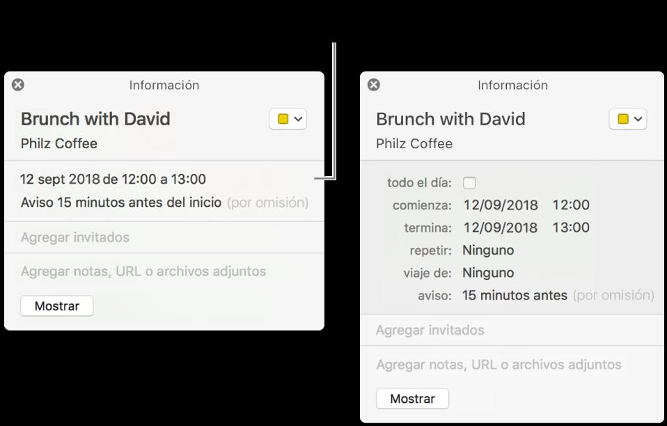 Ventana de información de un evento con los detalles ocultos (a la derecha), y la misma ventana mostrando los detalles de la duración (a la derecha).