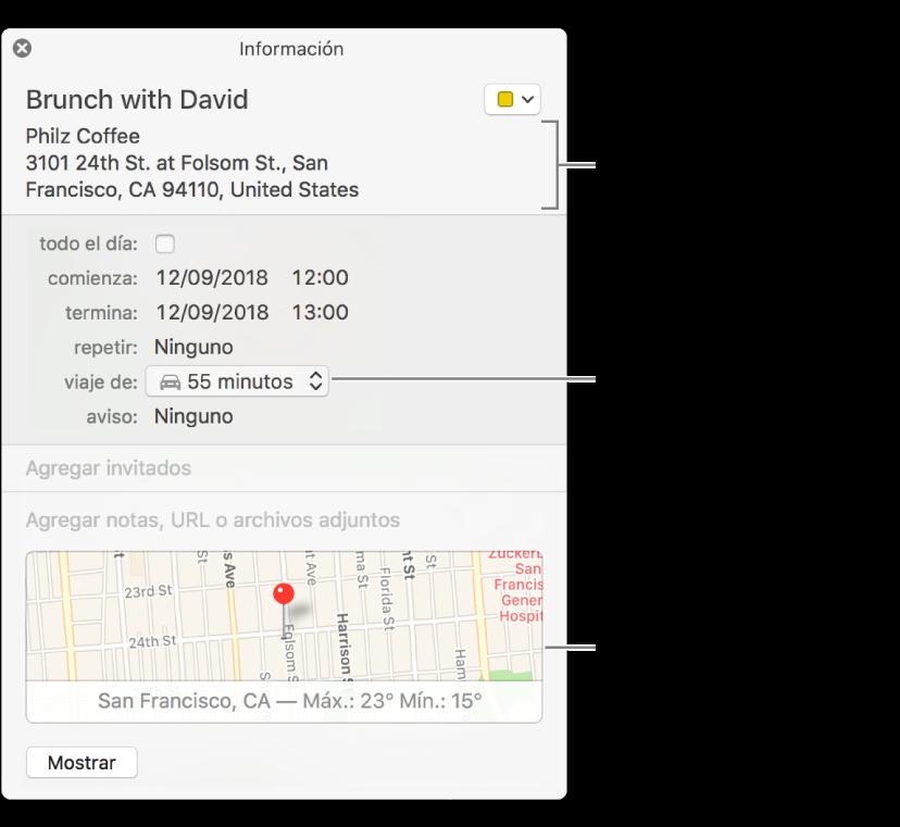 """Ventana de información de un evento, con el puntero sobre el menú desplegable """"Duración del viaje"""" Selecciona una duración de viaje en el menú desplegable. Haz clic en la ubicación para cambiarla. Haz clic en el mapa para obtener indicaciones"""